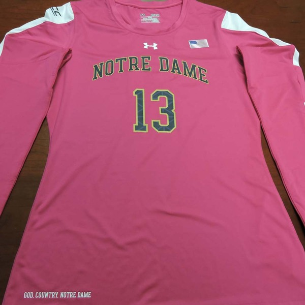 Photo of Notre Dame Volleyball Pink Jersey #13:  2016 Block Out Cancer Match, Under Armour® size M