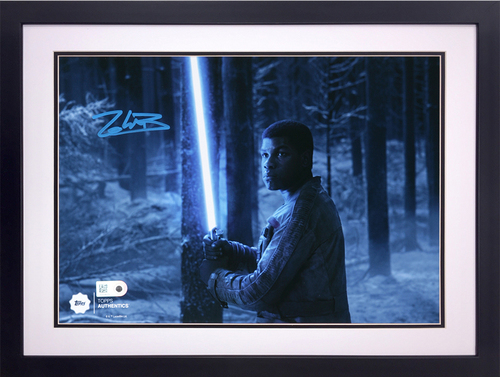 John Boyega as Finn 8x10 Autographed in Blue Ink at the Battle of Starkiller Base Framed Photo
