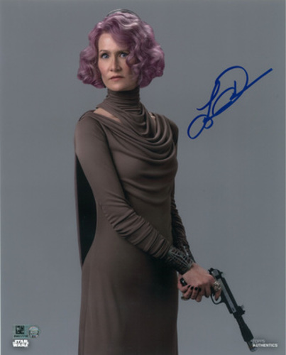 Laura Dern as Vice Admiral Holdo Autographed in Blue Ink 11x14 Photo