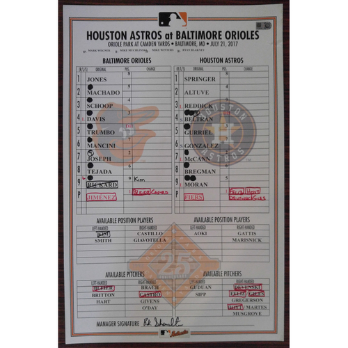 Photo of Game-Used Lineup Card: Baltimore Orioles vs. Houston Astros 7/21/2017