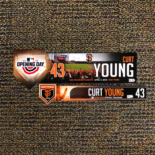 Photo of 2018 San Francisco Giants - 2018 Spring Training & 2018 Opening Day Locker Tag - #43 Curt Young