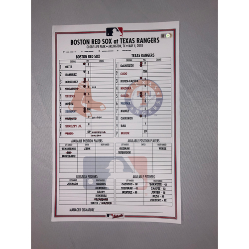 Photo of Red Sox vs Rangers May 4, 2018 Game-Used Lineup Card - Rangers Win 11 to 5