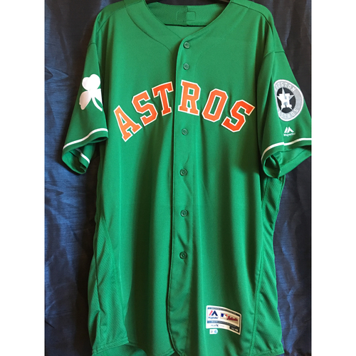 Photo of Justin Verlander 2019 Team-Issued St. Patrick's Day Jersey (Size 48)