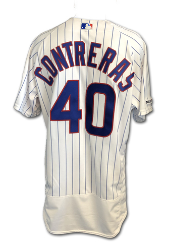 Photo of Willson Contreras Game-Used Jersey -- 3 Hits, 2 HRs (22nd & 23rd) -- Pediatric Cancer Awareness Patch -- 9/13/19 -- Pirates vs. Cubs