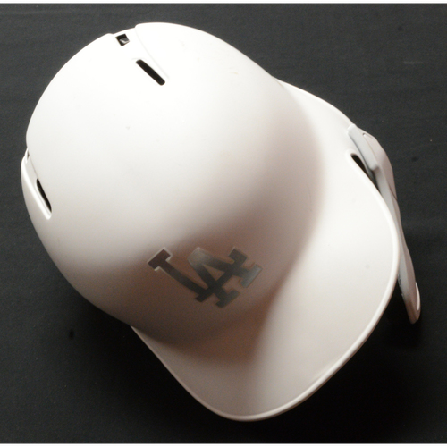 "Photo of Austin ""SAM"" Barnes Los Angeles Dodgers Game-Used 2019 Players' Weekend Helmet - Size 7 1/4"