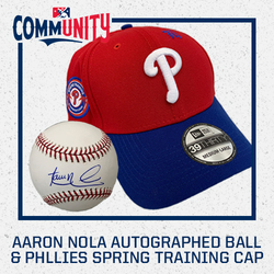 Photo of  Aaron Nola Autographed Baseball & Phillies Cap