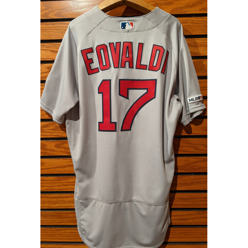 Nathan Eovaldi #17 Team Issued Road Gray Jersey