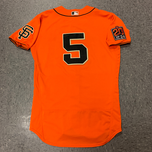 Photo of 2020 Game Used Orange Alternate Home Jersey - #5 Mike Yastrzemski - Game Used on 7/31 vs. TEX and 9/4 vs. ARI - Size 42
