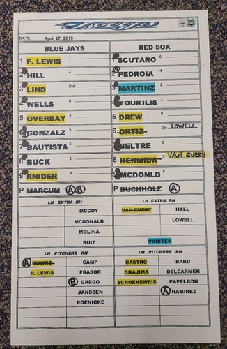 Photo of Authenticated Game Used Lineup Card (April 27, 2010 vs BOS): 8 IP and 1 ER in Win for Clay Buchholz