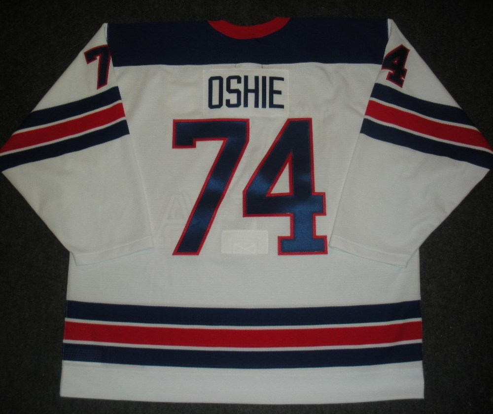T.J. Oshie - Sochi 2014 - Winter Olympic Games - Team USA Throwback Game-Worn Jersey - Worn in 2nd and 3rd Periods vs. Slovenia, 2/16/14