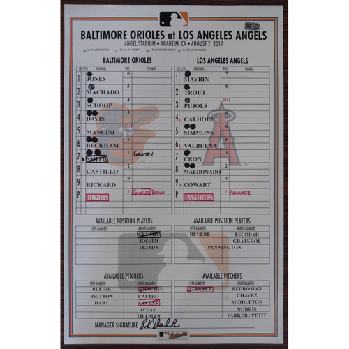 Photo of Game-Used Lineup Card: Baltimore Orioles @ Los Angeles Angels 8/7/2017