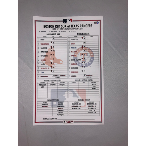 Photo of Red Sox vs Rangers May 5, 2018 Game-Used Lineup Card - Red Sox Win 5 to 1