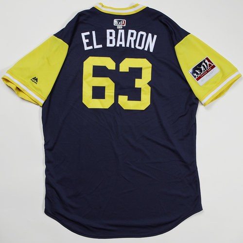"Photo of Robinzon ""El Baron"" Diaz Milwaukee Brewers Game-Used Jersey 2018 Players' Weekend Jersey"