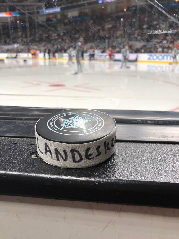 Gabriel Landeskog Colorado Avalanche Central Division Gatorade NHL Puck Control Event-Used Puck - Second Shot