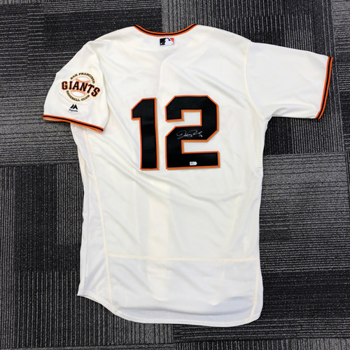 Photo of Autographed Home Jersey - signed by #12 Joe Panik - size 44