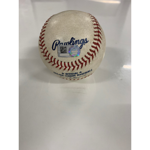 Photo of Game Used Baseball: Yu Chang's MLB Debut - Pitcher: John Means, Batter: Carlos Santana - Single - 6/28/19 vs BAL