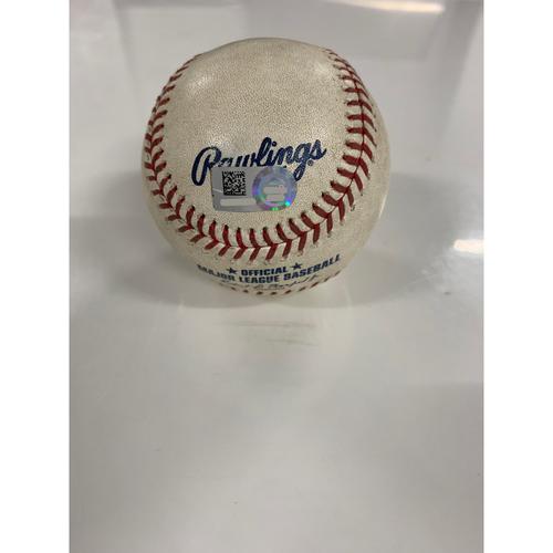 Game Used Baseball: Yu Chang's MLB Debut - Pitcher: John Means, Batter: Carlos Santana - Single - 6/28/19 vs BAL
