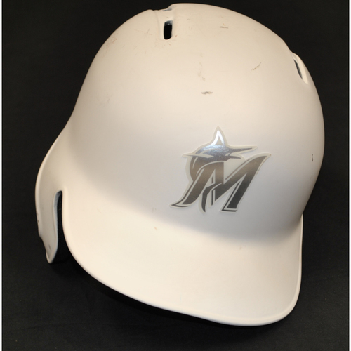 "Photo of Curtis ""GRANDYMAN"" Granderson Miami Marlins Game-Used 2019 Players' Weekend Helmet"