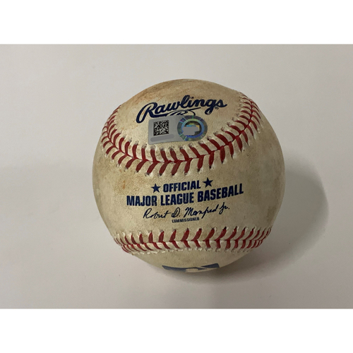 Photo of Game-Used Baseball - CWS at CLE - 9/23/2020  - Pitcher - Shane Bieber, Batter - Tim Anderson, Top 3, Ground Out