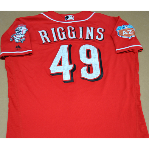 Photo of Game-Used 2016 Spring Training Jersey - Mark Riggins - Size 44 - Cincinnati Reds