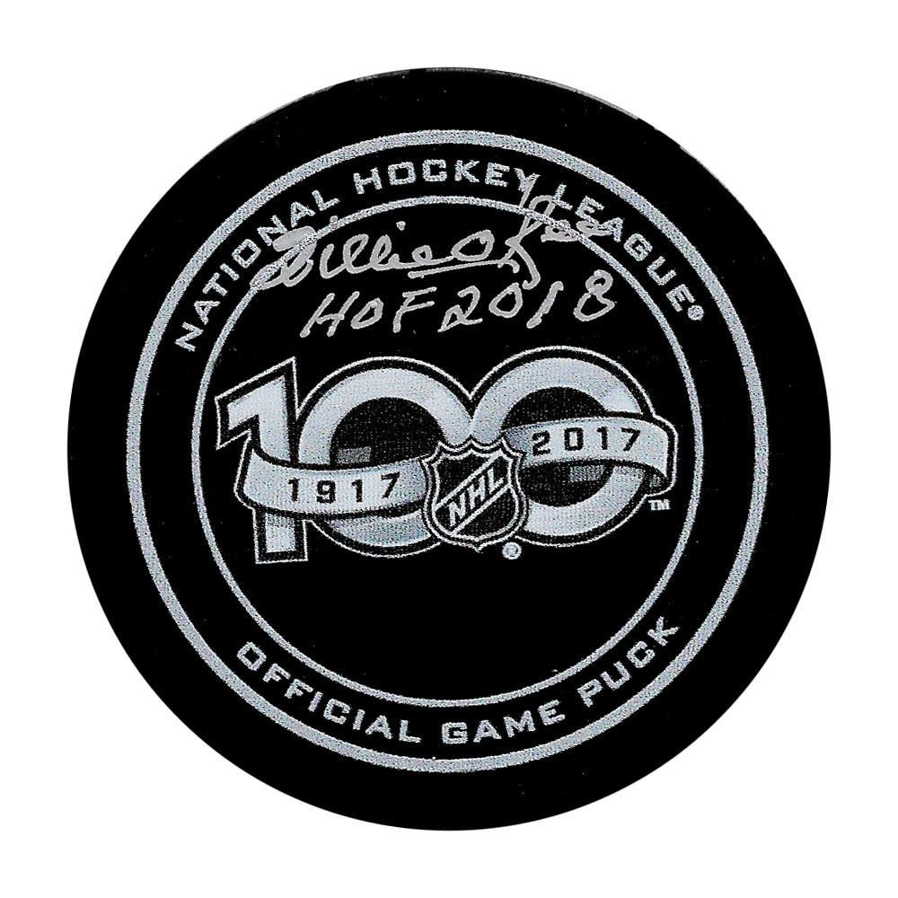 Willie O'Ree Autographed NHL 100th Anniversary Official Game Puck w/HOF 2018 Inscription