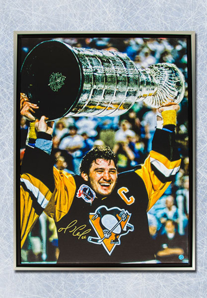 Mario Lemieux Pittsburgh Penguins Signed Stanley Cup 24x35 Framed Art Canvas
