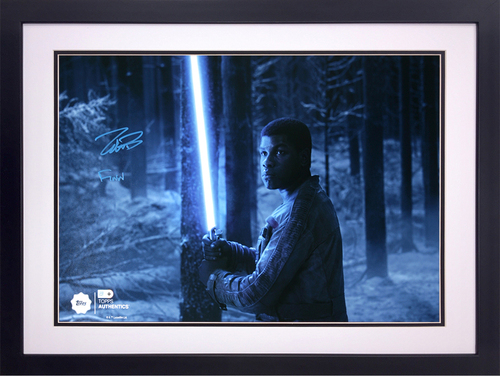 John Boyega as Finn at the Battle of Starkiller Base Autographed in Blue Ink Inscribed 16x20 Framed Photo
