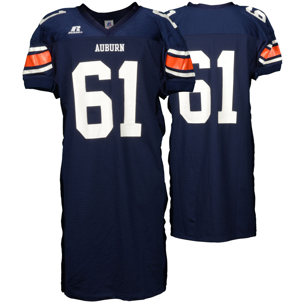 Auburn Tigers Game-Used 2003-2005 Russell Navy Football Jersey #61 - Size 2XL