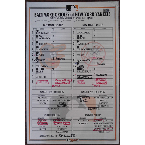 Game-Used Lineup Card: Baltimore Orioles @ New York Yankees 9/17/2017