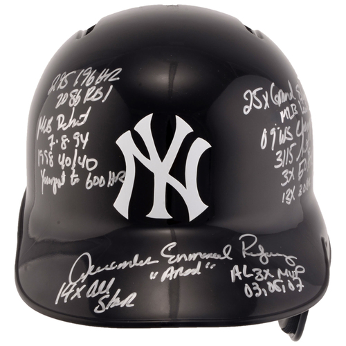 Photo of Alex Rodriguez New York Yankees Autographed Replica Batting Helmet with Career Stats Inscriptions - #13 in a Limited Edition of 13