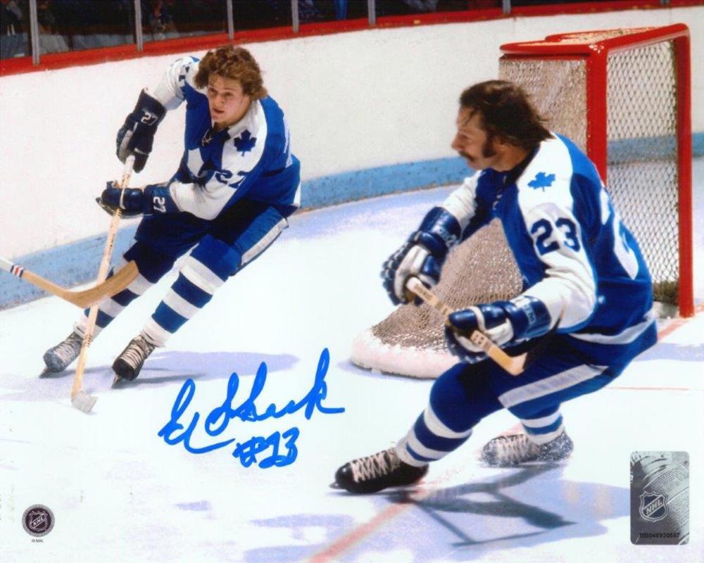 Eddie Shack - Signed 8x10 Unframed Toronto Maple Leafs with Sittler-H