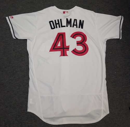 Photo of Authenticated Game Used Mother's Day Jersey - #43 Mike Ohlman (May 13/14, 2017). Rookie Season. Size 48