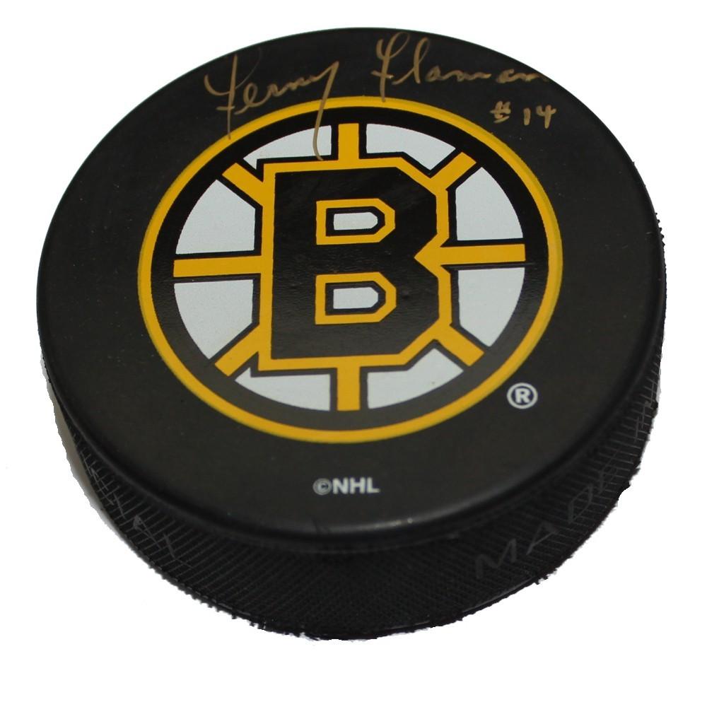 Fernie Flaman (deceased)  Autographed Boston Bruins Puck