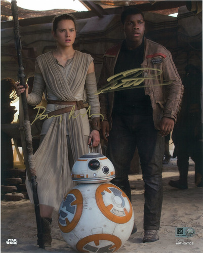 Daisy Ridley as Rey and John Boyega 8x10 Dual Autographed in Gold Ink Photo