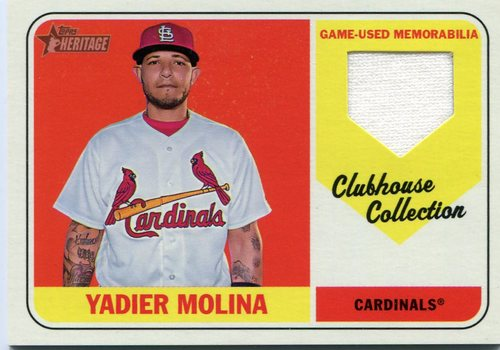 Photo of 2018 Topps Heritage Clubhouse Collection Relics #CCRYM Yadier Molina