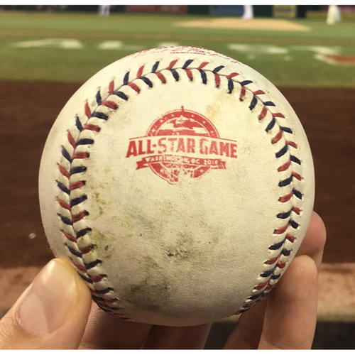 Photo of 2018 MLB All-Star Game - Game-Used Baseball: Top 1st, Pitcher - Max Scherzer, Batters: Mookie Betts (Strikeout), Jose Altuve (Strikeout)