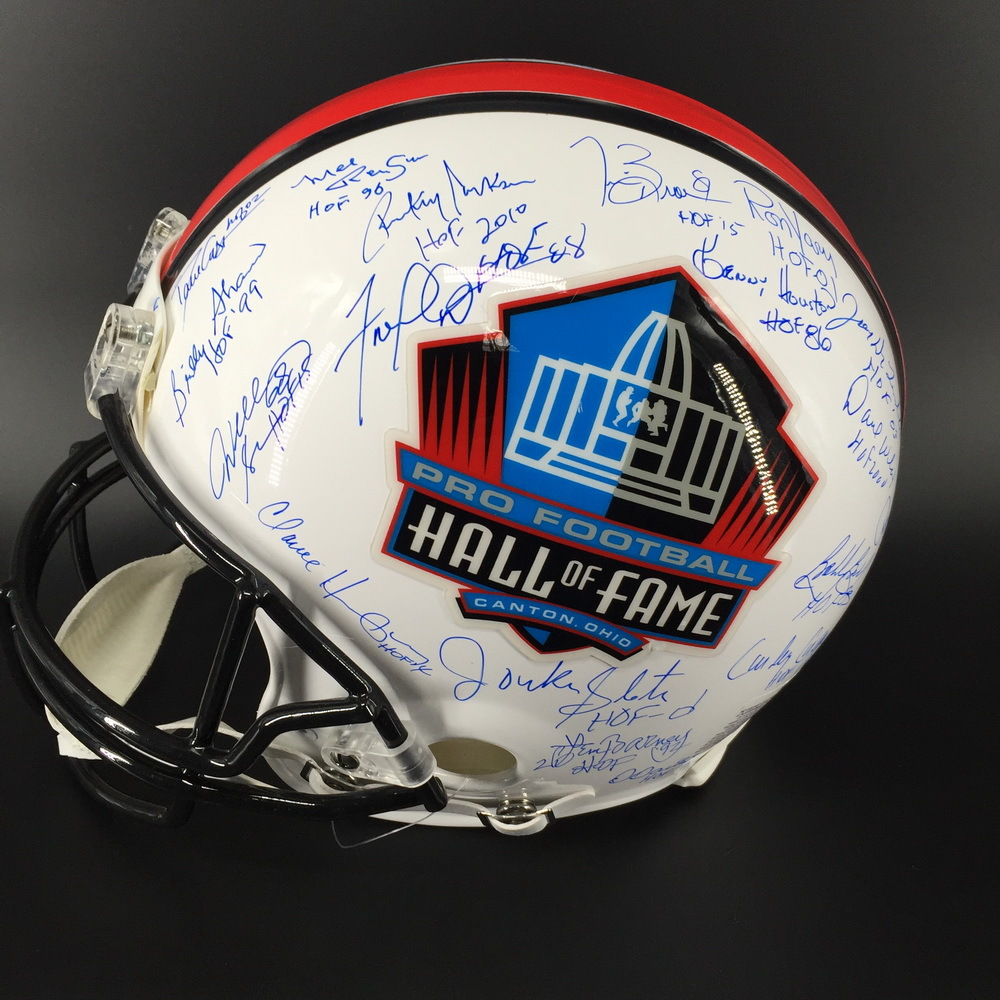 HOF - Multi Signed Proline Helmet W/ More Than 30 Signatures (including Brian Dawkins, Warren Moon, Aeneas Williams, Tim Brown , Anthony Munoz, Steve Largent)