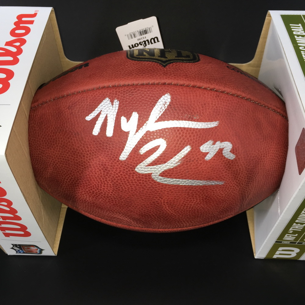 NFL -  COLTS RB NYHEIM HINES SIGNED AUTHENTIC 'DUKE' FOOTBALL W/ 42 INSCRIPTION