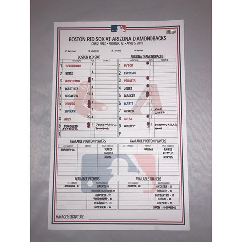 Photo of Boston Red Sox vs Arizona Diamondbacks April 5, 2019 Game Used Lineup Card - Diamondbacks Win 15 to 7