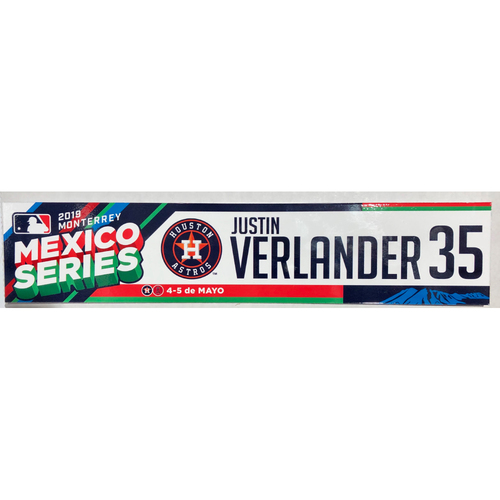 Photo of 2019 Mexico Series Game Used Locker Name Plate - Justin Verlander, Houston Astros at Los Angeles Angels - 5/4/19 - 5/5/19