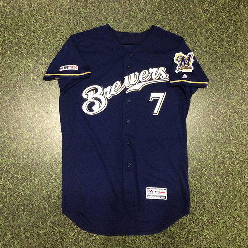 Photo of Eric Thames 2019 Game-Used Navy Alternate Jersey