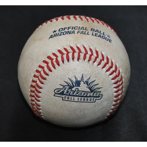 Photo of Game-Used Baseball: 2019 Arizona Fall League - Pitcher: Miguel Aguilar (ARI), Batter: C.J. Chatham (BOS) - Single - Top 8 - 10/18/2019
