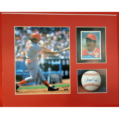 Photo of Matted Johnny Bench Batting with Card and Ball - 11x14