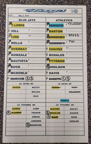 Photo of Authenticated Game Used Lineup Card (May 2, 2010 vs OAK): Fred Lewis with 1 HR and 3 RBIs