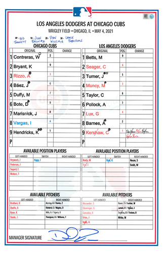 Photo of Game-Used Lineup Card -- Hendricks 2nd Win (CG; 7 IP, 1 ER, 6 K) -- Marisnick 3rd HR -- Dodgers vs. Cubs Game 1 -- 5/4/21