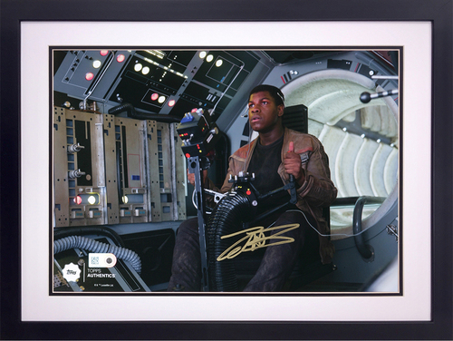 John Boyega as Finn in the Gunner Position on the Millennium Falcon Autographed in Gold Ink 8x10 Framed Photo