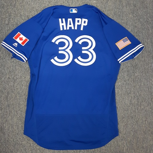Photo of Authenticated Game Used Independence Day Jersey (July 4, 2017) - #33 J.A. Happ. Happ went 6 IP with 4 Hits, 1 ER, 2 BBs, and 6 Ks. Happ's 100th Game as a Blue Jay. Size 48