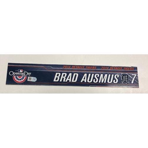 Photo of Game-Used 2014 Opening Day Locker Name Plate: Brad Ausmus