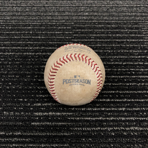Photo of 2016 Postseason Game Used Baseball - NLDS Game 4 vs. Chicago Cubs - Matt Moore to Jason Heyward - Strike Out Swinging