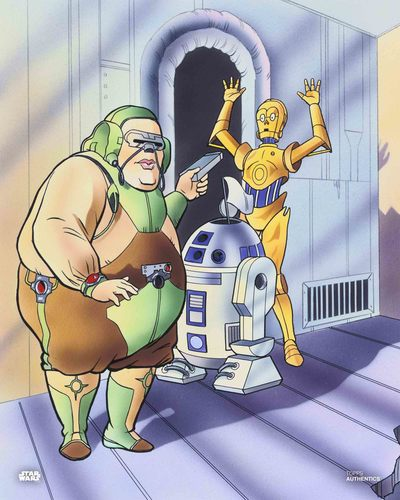 C-3PO, Kleb Zellock and R2-D2